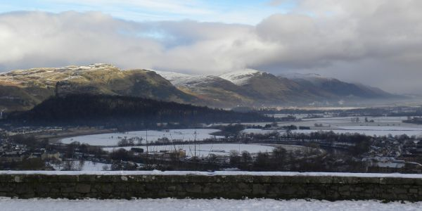 Snowy Misty Ochil Hills above Stirling